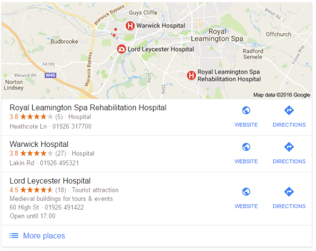 hospitals and attractions icons