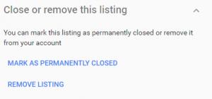 Remove listing button